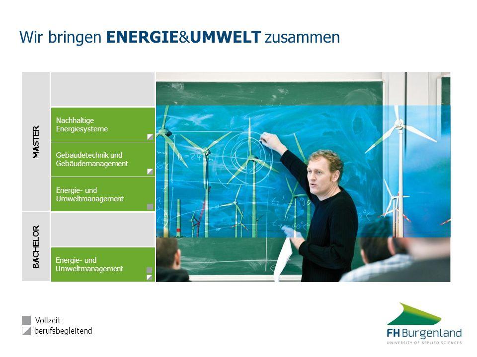 BACHELOR MASTER Energie- und Umweltmanagement Energie- und Umweltmanagement Nachhaltige Energiesysteme Gebäudetechnik und Gebäudemanagement Vollzeit b