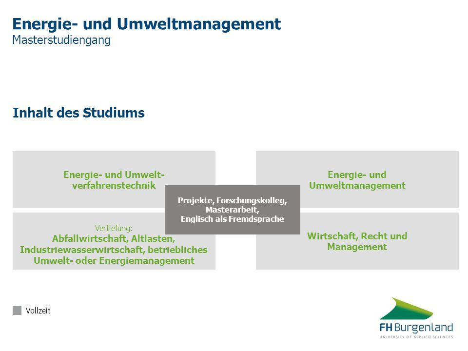 Energie- und Umweltmanagement Masterstudiengang Inhalt des Studiums Vertiefung: Abfallwirtschaft, Altlasten, Industriewasserwirtschaft, betriebliches