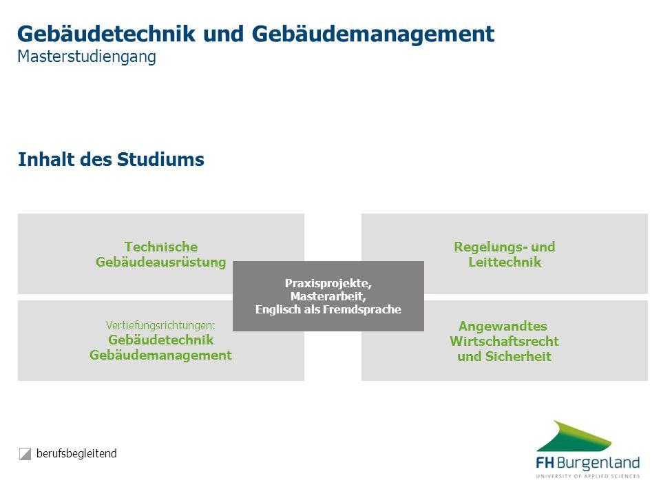 Gebäudetechnik und Gebäudemanagement Masterstudiengang Inhalt des Studiums Vertiefungsrichtungen: Gebäudetechnik Gebäudemanagement Angewandtes Wirtsch