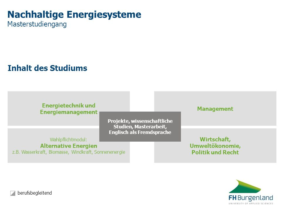 Nachhaltige Energiesysteme Masterstudiengang Inhalt des Studiums Wahlpflichtmodul: Alternative Energien z.B. Wasserkraft, Biomasse, Windkraft, Sonnene