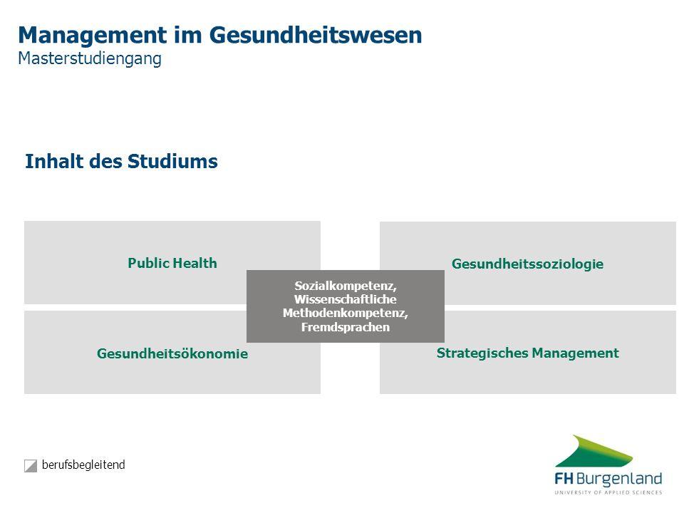 Management im Gesundheitswesen Masterstudiengang Inhalt des Studiums Gesundheitsökonomie Strategisches Management Gesundheitssoziologie Public Health