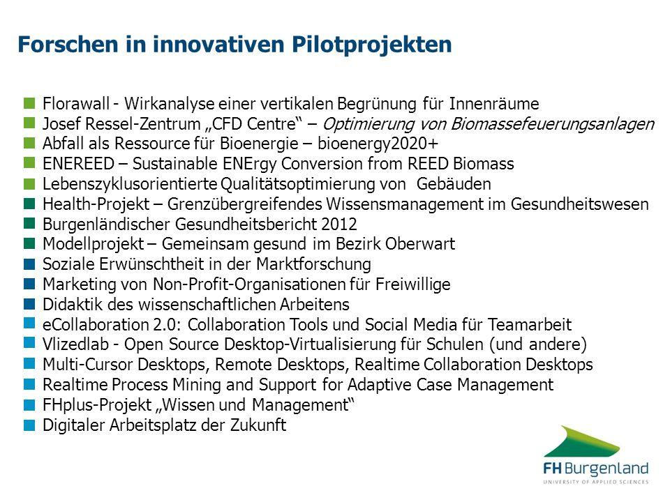 Forschen in innovativen Pilotprojekten Florawall - Wirkanalyse einer vertikalen Begrünung für Innenräume Josef Ressel-Zentrum CFD Centre – Optimierung