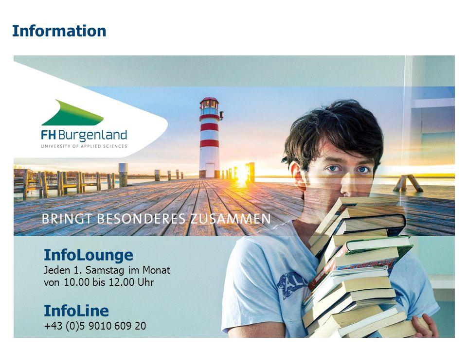 Information InfoLounge Jeden 1. Samstag im Monat von 10.00 bis 12.00 Uhr InfoLine +43 (0)5 9010 609 20