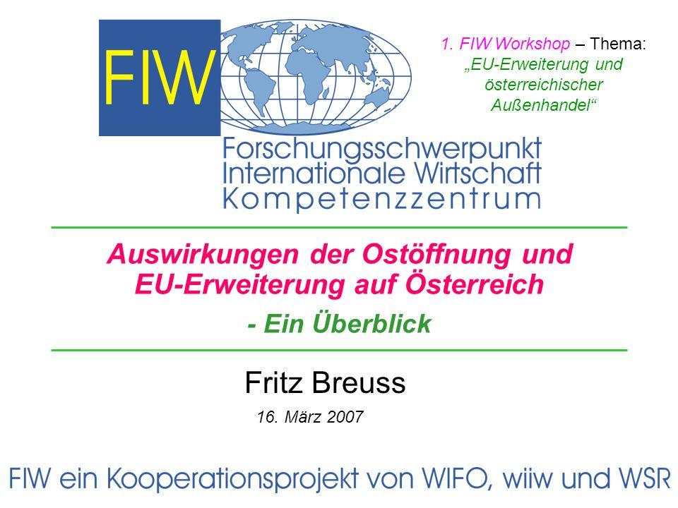 Themen Kurze Geschichte Ostorientierung – Handel, FDI Integrationstheorie Auswirkungen