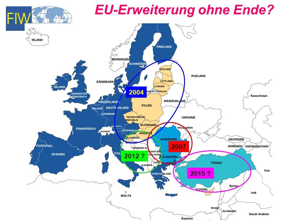 Quelle: Eurobarometer 66, Dezember 2006, S. 30 Sind Sie für eine Fortsetzung der EU-Erweiterung?
