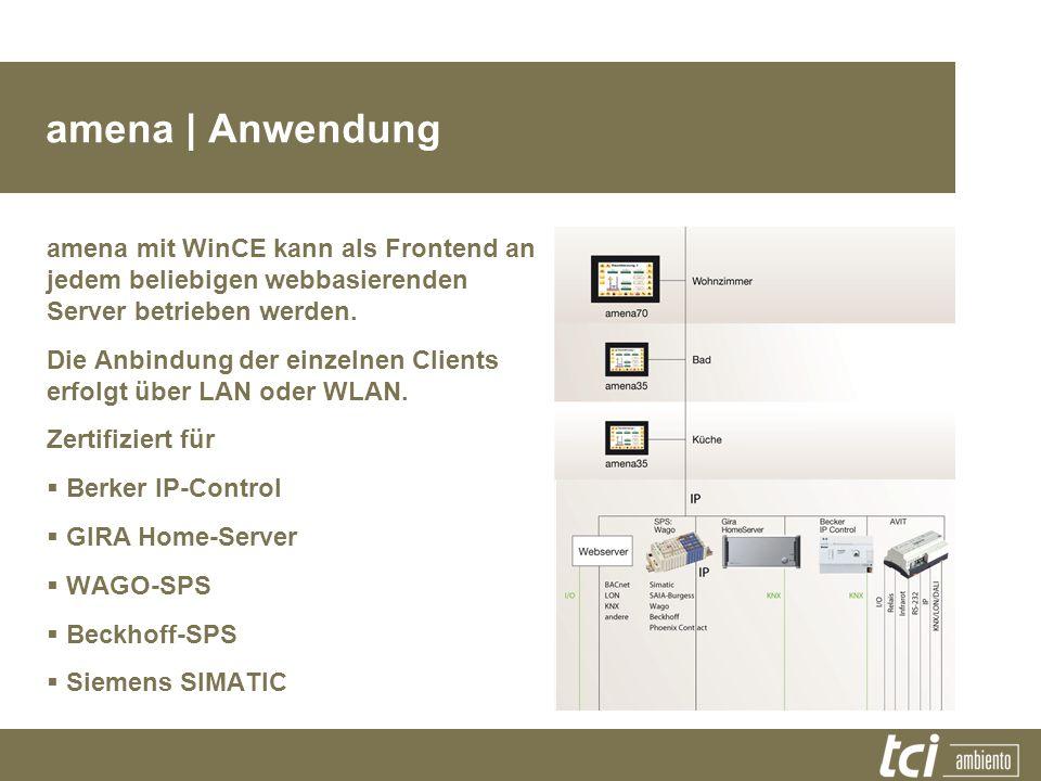amena | Anwendung amena mit WinCE kann als Frontend an jedem beliebigen webbasierenden Server betrieben werden. Die Anbindung der einzelnen Clients er