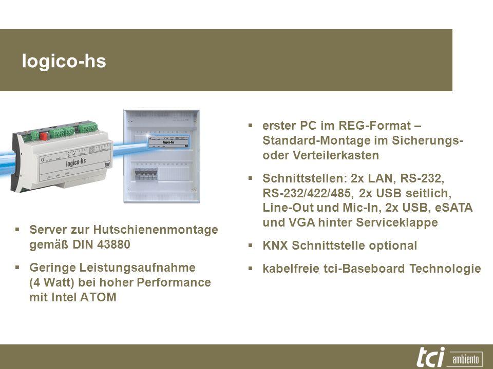 logico-hs Server zur Hutschienenmontage gemäß DIN 43880 Geringe Leistungsaufnahme (4 Watt) bei hoher Performance mit Intel ATOM erster PC im REG-Forma
