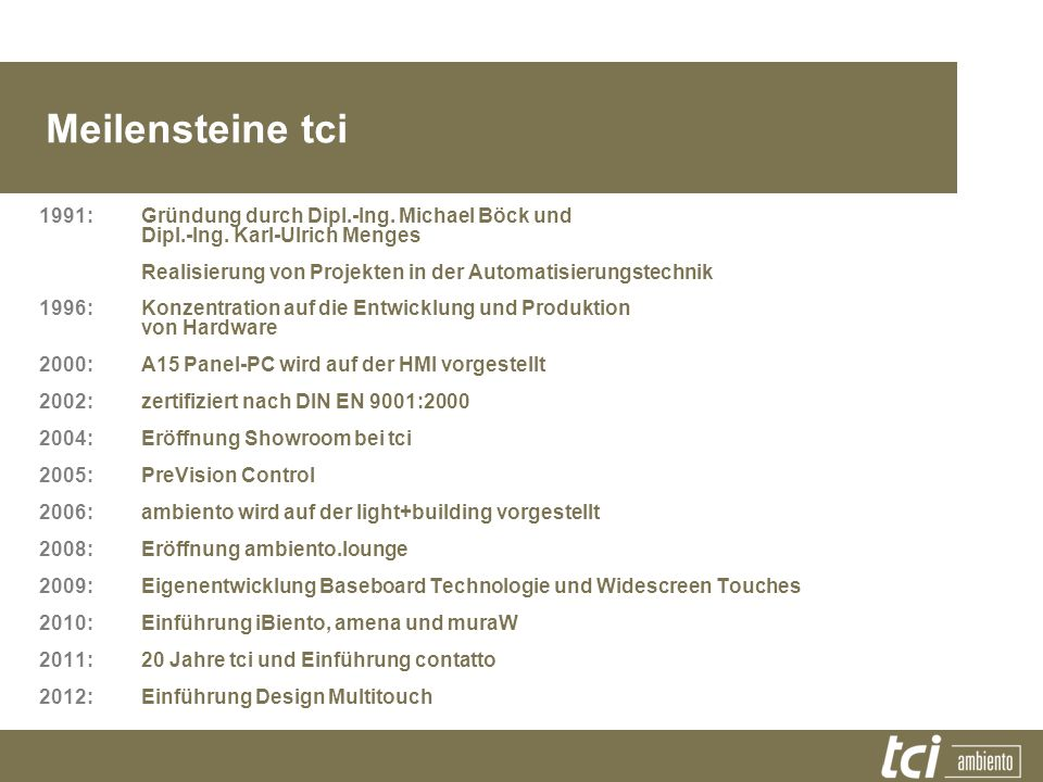 Meilensteine tci 1991:Gründung durch Dipl.-Ing. Michael Böck und Dipl.-Ing. Karl-Ulrich Menges Realisierung von Projekten in der Automatisierungstechn