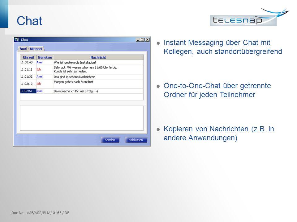 Chat Instant Messaging über Chat mit Kollegen, auch standortübergreifend One-to-One-Chat über getrennte Ordner für jeden Teilnehmer Kopieren von Nachr