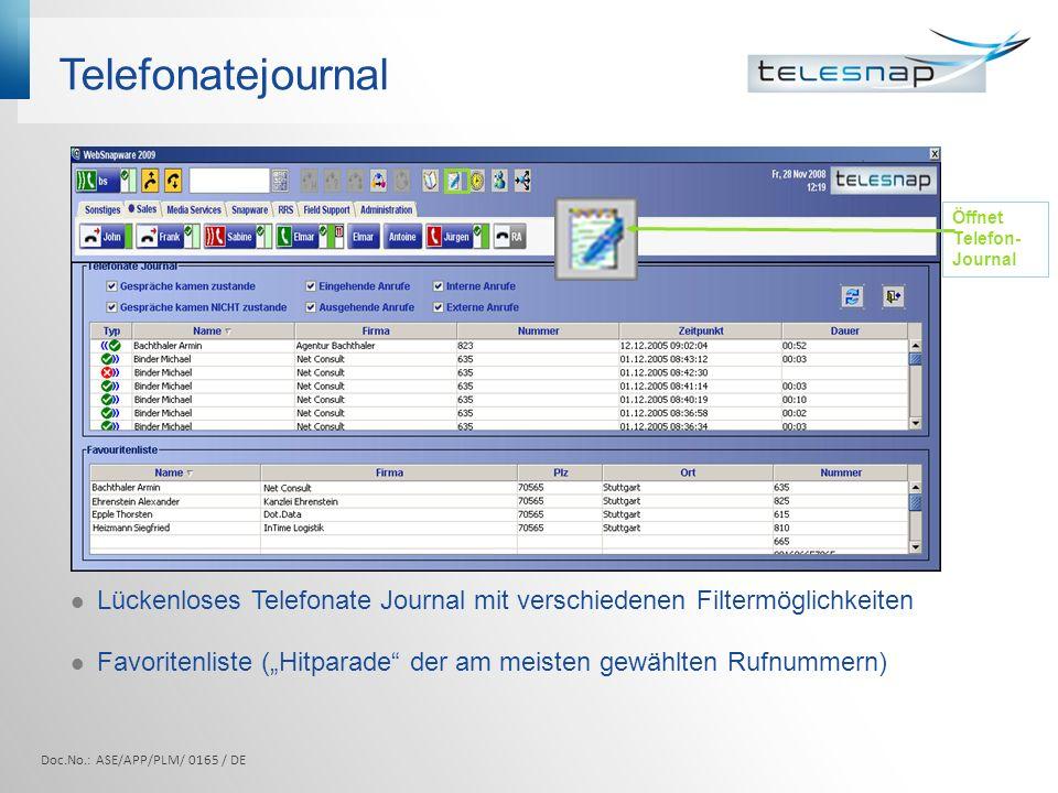 Telefonatejournal Lückenloses Telefonate Journal mit verschiedenen Filtermöglichkeiten Favoritenliste (Hitparade der am meisten gewählten Rufnummern) Öffnet Telefon- Journal Doc.No.: ASE/APP/PLM/ 0165 / DE