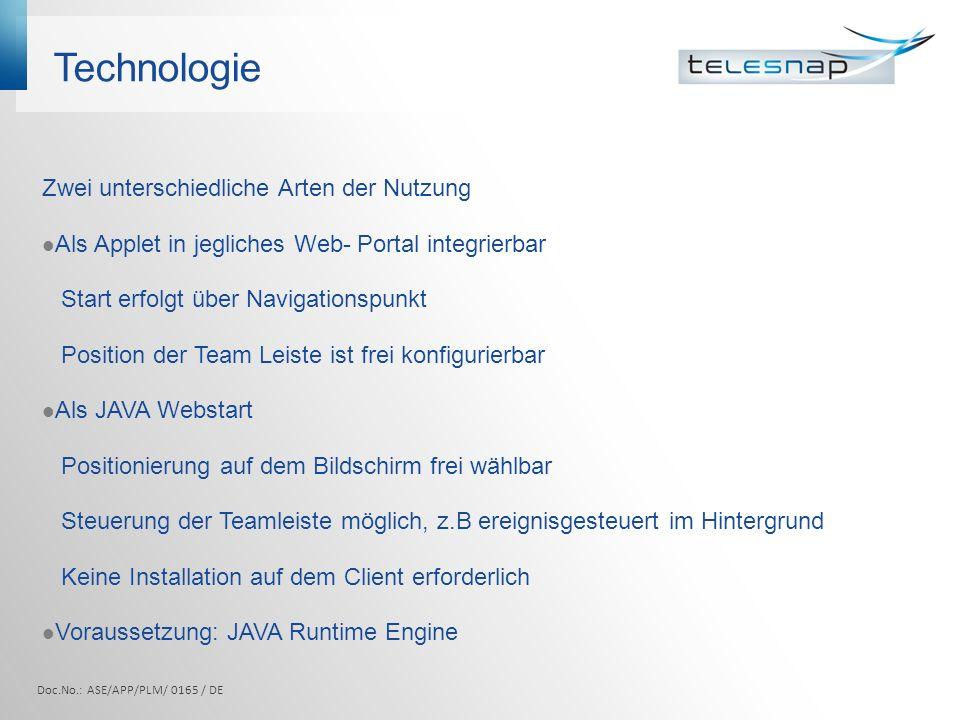 Technologie Zwei unterschiedliche Arten der Nutzung Als Applet in jegliches Web- Portal integrierbar Start erfolgt über Navigationspunkt Position der