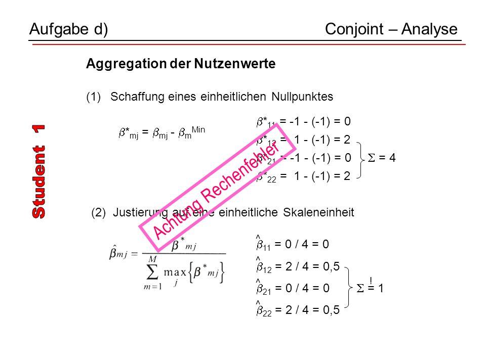 Aufgabe d)Conjoint – Analyse Aggregation der Nutzenwerte (1)Schaffung eines einheitlichen Nullpunktes * mj = mj - m Min * 11 = -1 - (-1) = 0 * 12 = 1 - (-1) = 2 * 21 = -1 - (-1) = 0 = 4 * 22 = 1 - (-1) = 2 (2) Justierung auf eine einheitliche Skaleneinheit 11 = 0 / 4 = 0 12 = 2 / 4 = 0,5 21 = 0 / 4 = 0 = 1 22 = 2 / 4 = 0,5 ^^^^^^^^ .