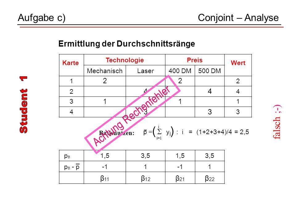 p B 1,53,51,53,5 p B - p1 1 β 11 β 12 β 21 β 22 Aufgabe c)Conjoint – Analyse Karte TechnologiePreis Wert MechanischLaser400 DM500 DM 1 2 2 2 2 4 4 4 3 1 1 1 4 3 3 3 i p = y i : i = (1+2+3+4)/4 = 2,5 i=1 ( ) Basisnutzen: Ermittlung der Durchschnittsränge Achtung Rechenfehler falsch ;-)