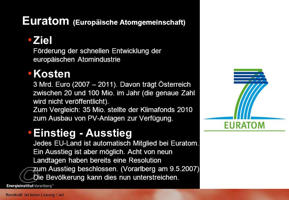 Euratom (Europäische Atomgemeinschaft) Ziel Förderung der schnellen Entwicklung der europäischen Atomindustrie Kosten 3 Mrd.