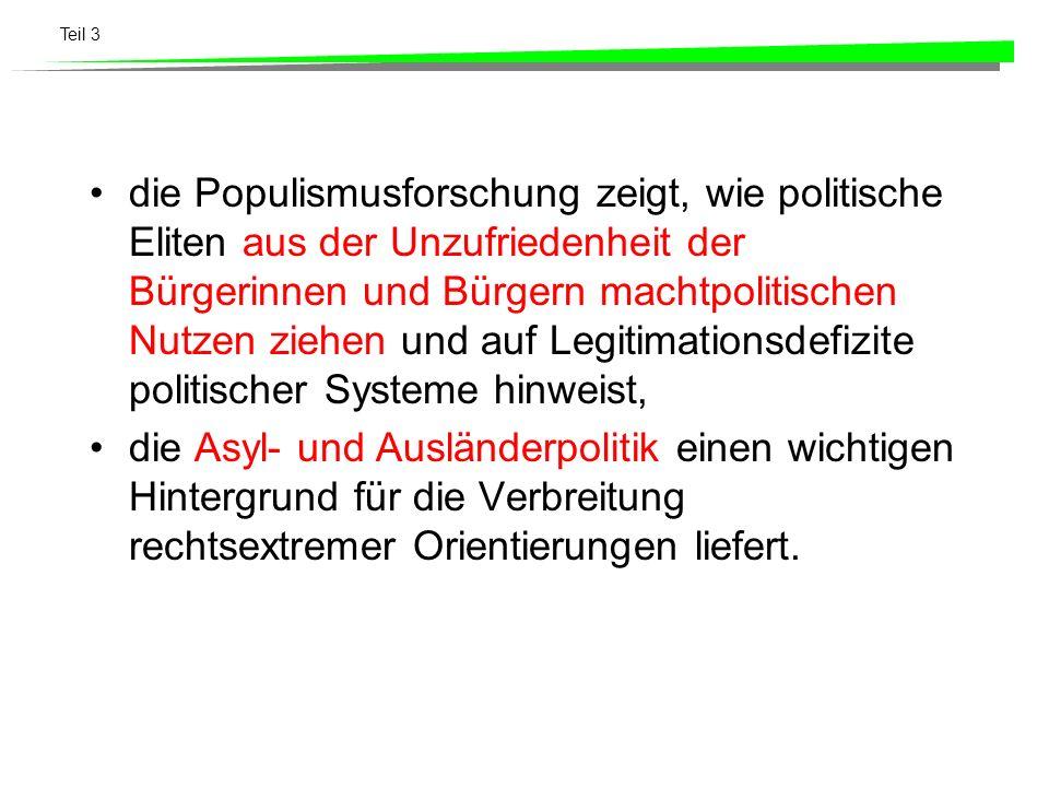 Teil 3 die Populismusforschung zeigt, wie politische Eliten aus der Unzufriedenheit der Bürgerinnen und Bürgern machtpolitischen Nutzen ziehen und auf