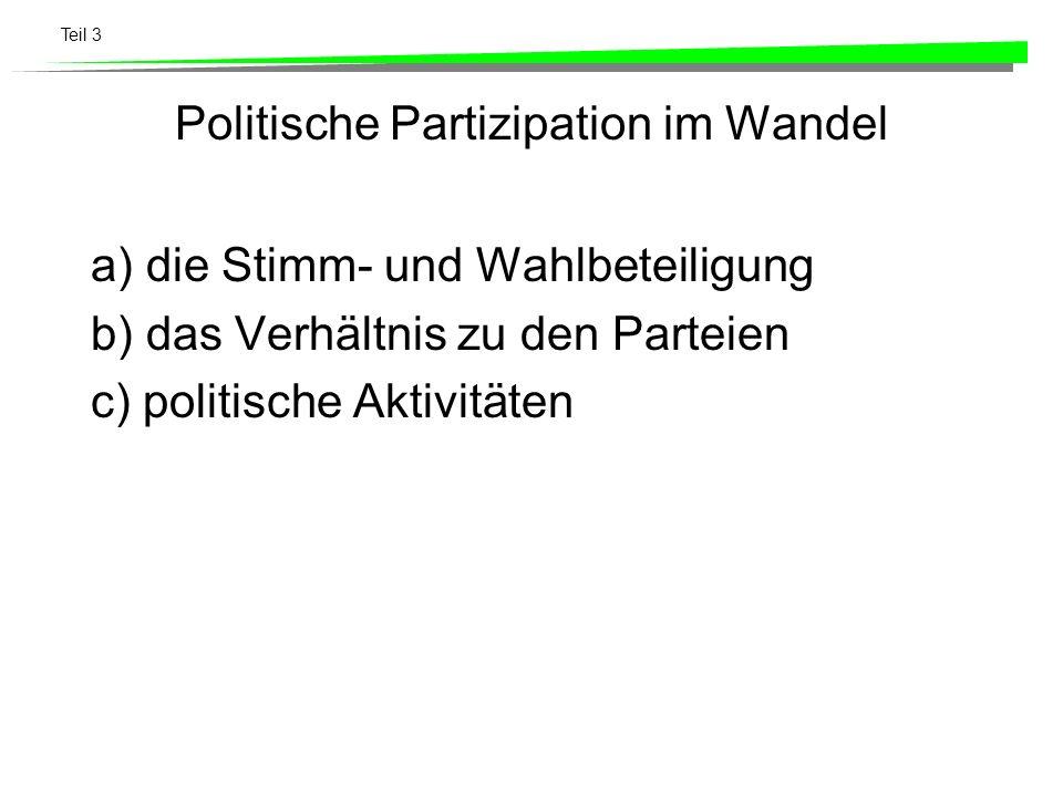 Teil 3 Politische Partizipation im Wandel a) die Stimm- und Wahlbeteiligung b) das Verhältnis zu den Parteien c) politische Aktivitäten