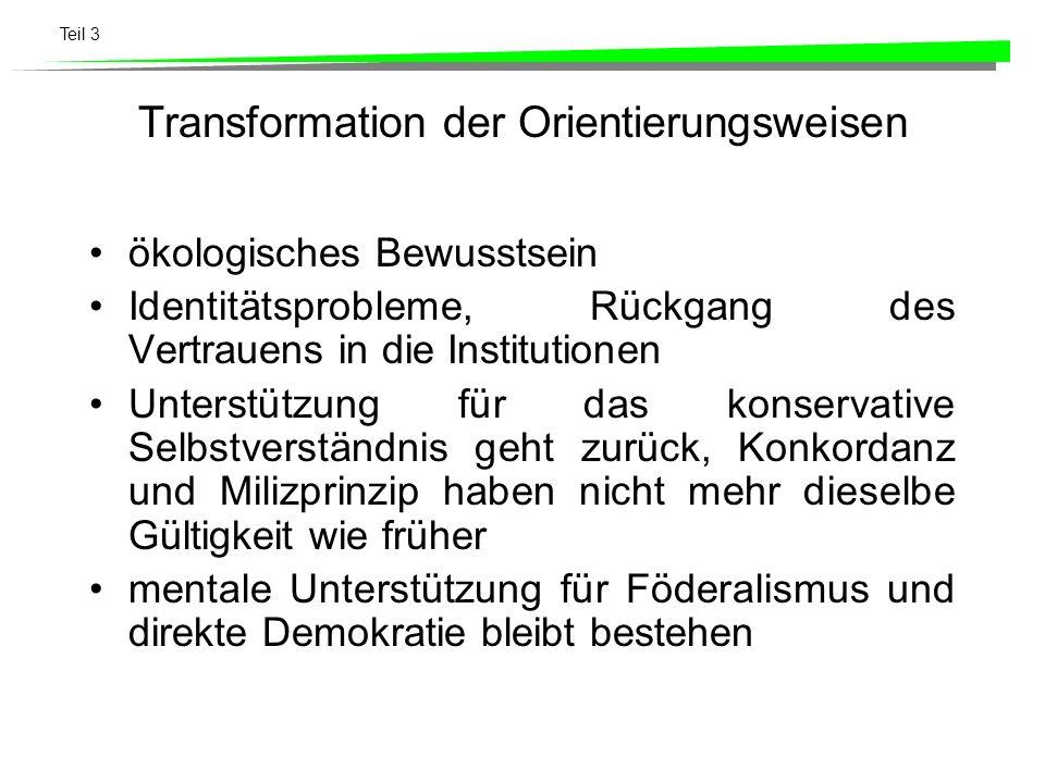 Teil 3 Transformation der Orientierungsweisen ökologisches Bewusstsein Identitätsprobleme, Rückgang des Vertrauens in die Institutionen Unterstützung
