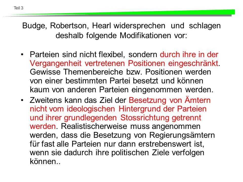Teil 3 Budge, Robertson, Hearl widersprechen und schlagen deshalb folgende Modifikationen vor: Parteien sind nicht flexibel, sondern durch ihre in der