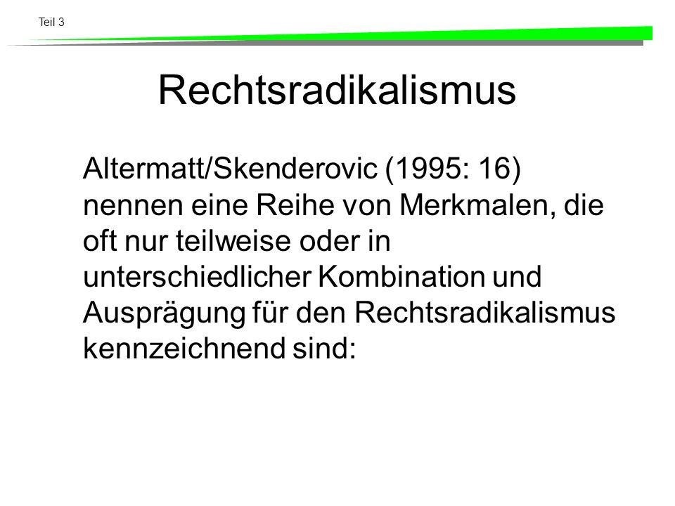 Teil 3 Rechtsradikalismus Altermatt/Skenderovic (1995: 16) nennen eine Reihe von Merkmalen, die oft nur teilweise oder in unterschiedlicher Kombinatio