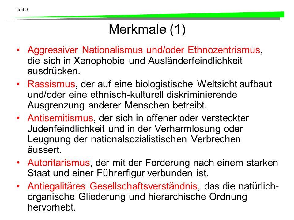 Teil 3 Merkmale (1) Aggressiver Nationalismus und/oder Ethnozentrismus, die sich in Xenophobie und Ausländerfeindlichkeit ausdrücken. Rassismus, der a