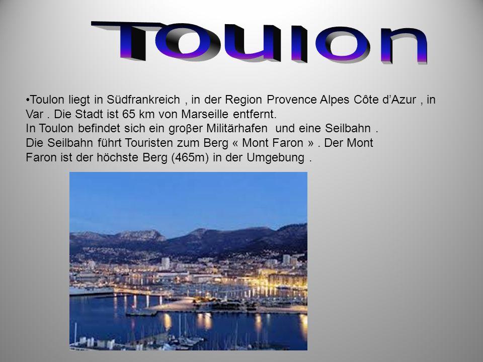 Toulon liegt in Südfrankreich, in der Region Provence Alpes Côte dAzur, in Var. Die Stadt ist 65 km von Marseille entfernt. In Toulon befindet sich ei