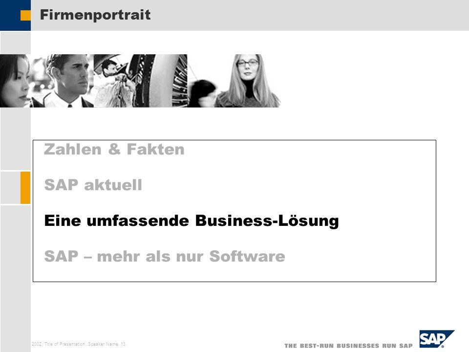 SAP AG 2002, Title of Presentation, Speaker Name 13 Zahlen & Fakten SAP aktuell Eine umfassende Business-Lösung SAP – mehr als nur Software Firmenport