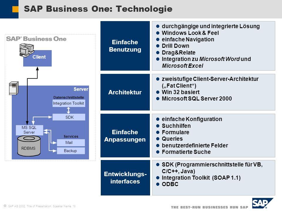 SAP AG 2002, Title of Presentation, Speaker Name 18 SAP Business One: Technologie Einfache Benutzung Architektur Entwicklungs- interfaces Server RDBMS