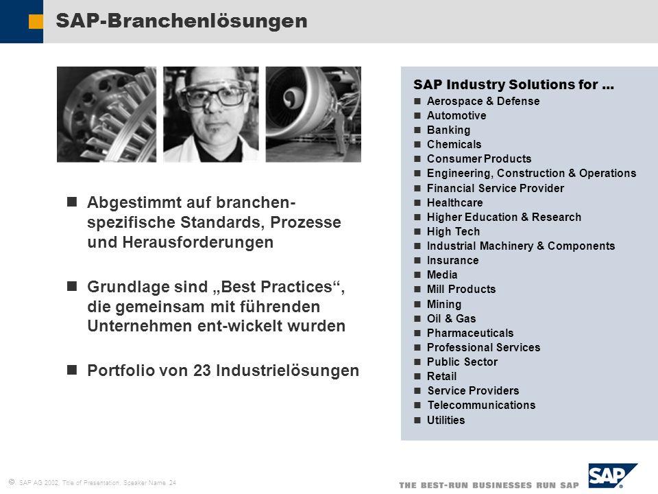 SAP AG 2002, Title of Presentation, Speaker Name 24 SAP-Branchenlösungen Abgestimmt auf branchen- spezifische Standards, Prozesse und Herausforderunge