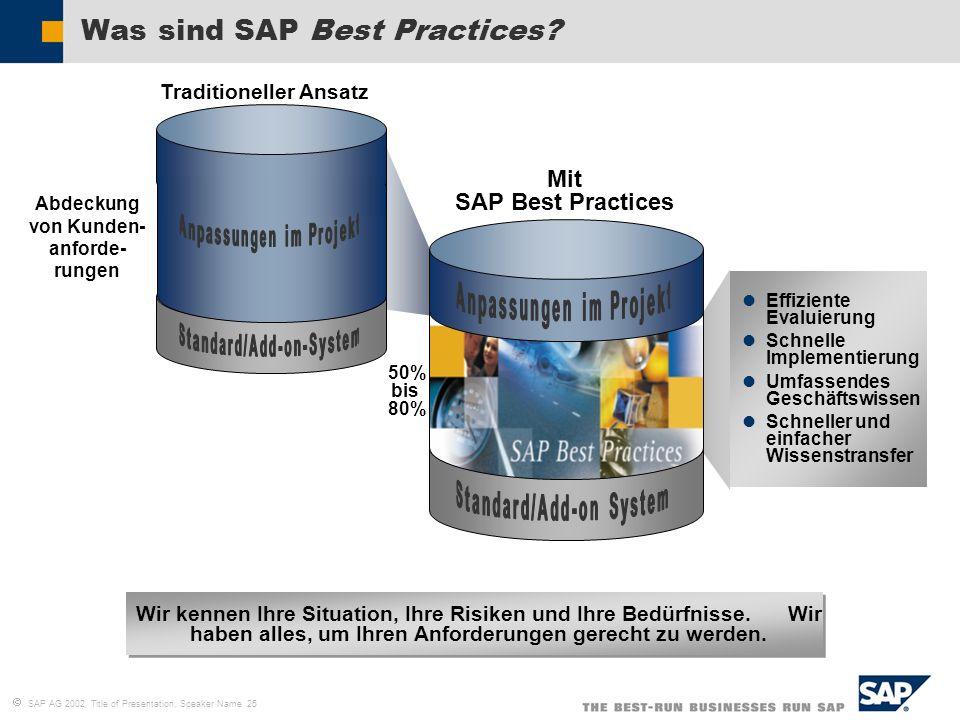 SAP AG 2002, Title of Presentation, Speaker Name 25 Effiziente Evaluierung Schnelle Implementierung Umfassendes Geschäftswissen Schneller und einfache