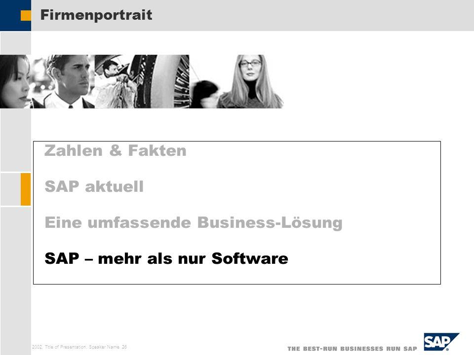 SAP AG 2002, Title of Presentation, Speaker Name 26 Zahlen & Fakten SAP aktuell Eine umfassende Business-Lösung SAP – mehr als nur Software Firmenport
