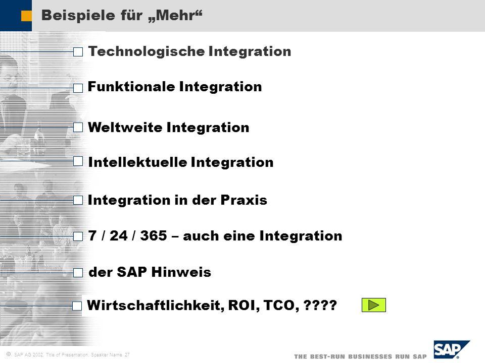 SAP AG 2002, Title of Presentation, Speaker Name 27 Beispiele für Mehr Technologische Integration Funktionale Integration Weltweite Integration Intell