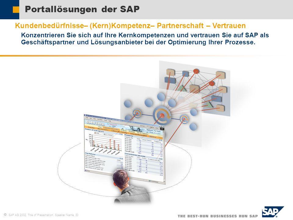 SAP AG 2002, Title of Presentation, Speaker Name 30 Portallösungen der SAP Kundenbedürfnisse– (Kern)Kompetenz– Partnerschaft – Vertrauen Konzentrieren