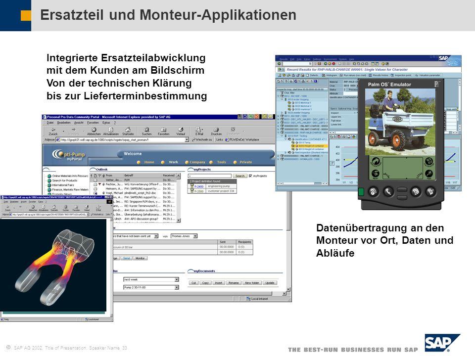 SAP AG 2002, Title of Presentation, Speaker Name 33 Integrierte Ersatzteilabwicklung mit dem Kunden am Bildschirm Von der technischen Klärung bis zur