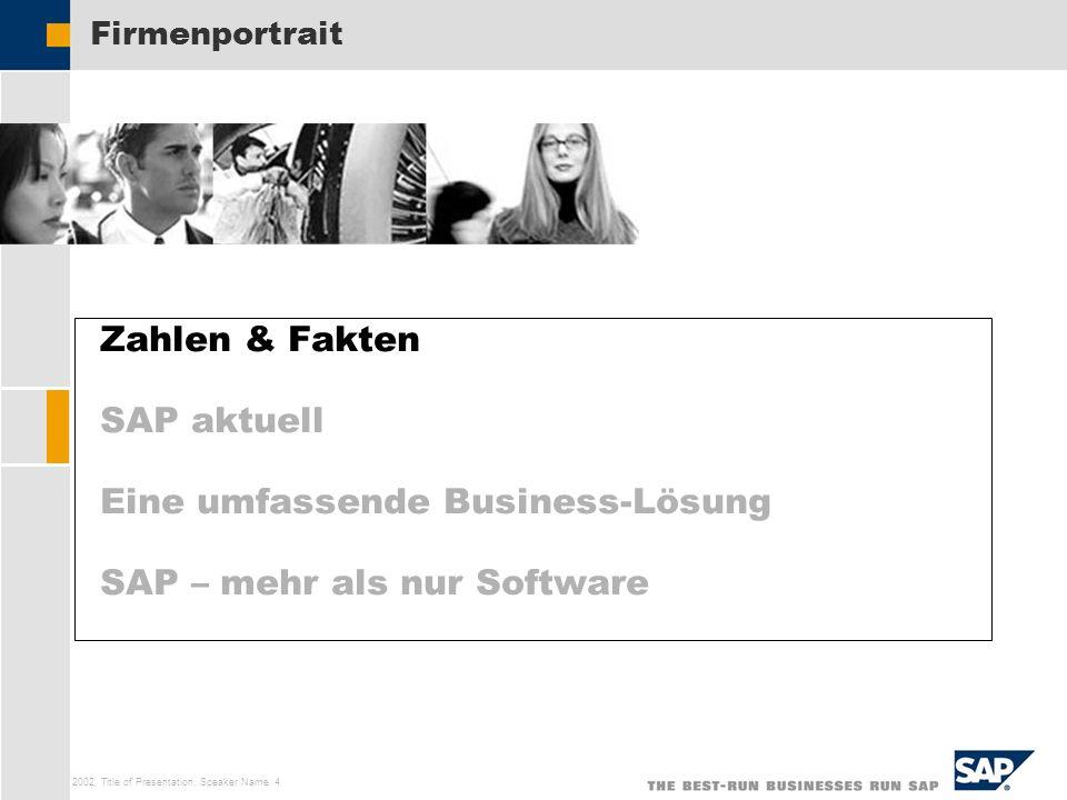 SAP AG 2002, Title of Presentation, Speaker Name 4 Zahlen & Fakten SAP aktuell Eine umfassende Business-Lösung SAP – mehr als nur Software Firmenportr