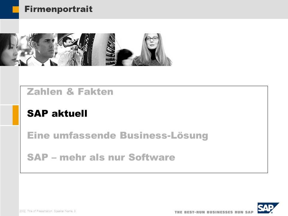 SAP AG 2002, Title of Presentation, Speaker Name 8 Zahlen & Fakten SAP aktuell Eine umfassende Business-Lösung SAP – mehr als nur Software Firmenportr
