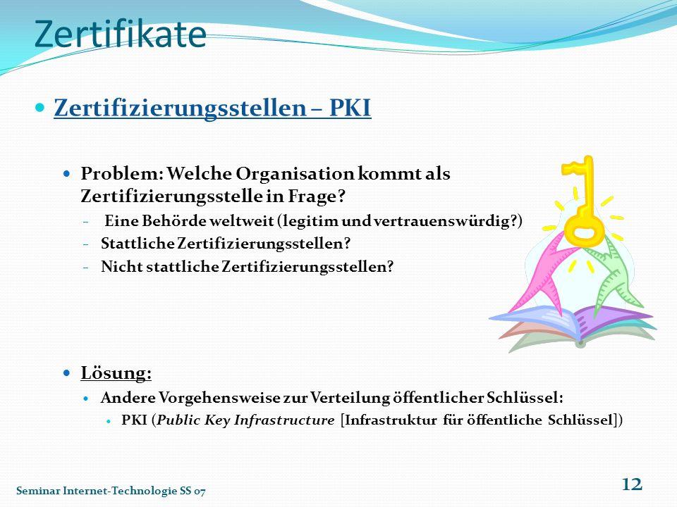 Zertifikate Zertifizierungsstellen – PKI Problem: Welche Organisation kommt als Zertifizierungsstelle in Frage? Eine Behörde weltweit (legitim und ver