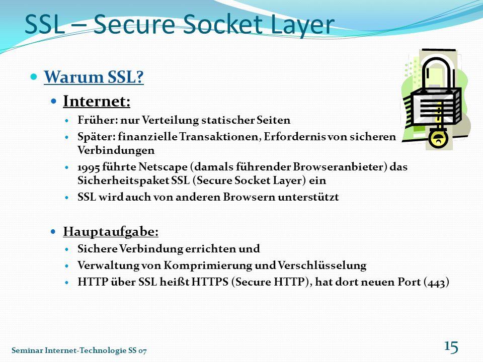 SSL – Secure Socket Layer Warum SSL? Internet: Früher: nur Verteilung statischer Seiten Später: finanzielle Transaktionen, Erfordernis von sicheren Ve