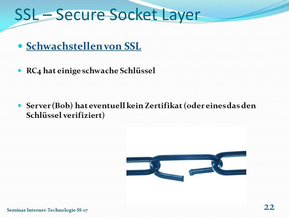 SSL – Secure Socket Layer Schwachstellen von SSL RC4 hat einige schwache Schlüssel Server (Bob) hat eventuell kein Zertifikat (oder eines das den Schl