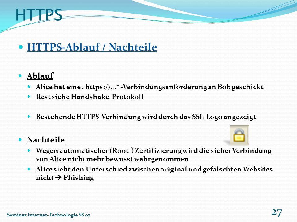 HTTPS HTTPS-Ablauf / Nachteile Ablauf Alice hat eine https://... -Verbindungsanforderung an Bob geschickt Rest siehe Handshake-Protokoll Bestehende HT
