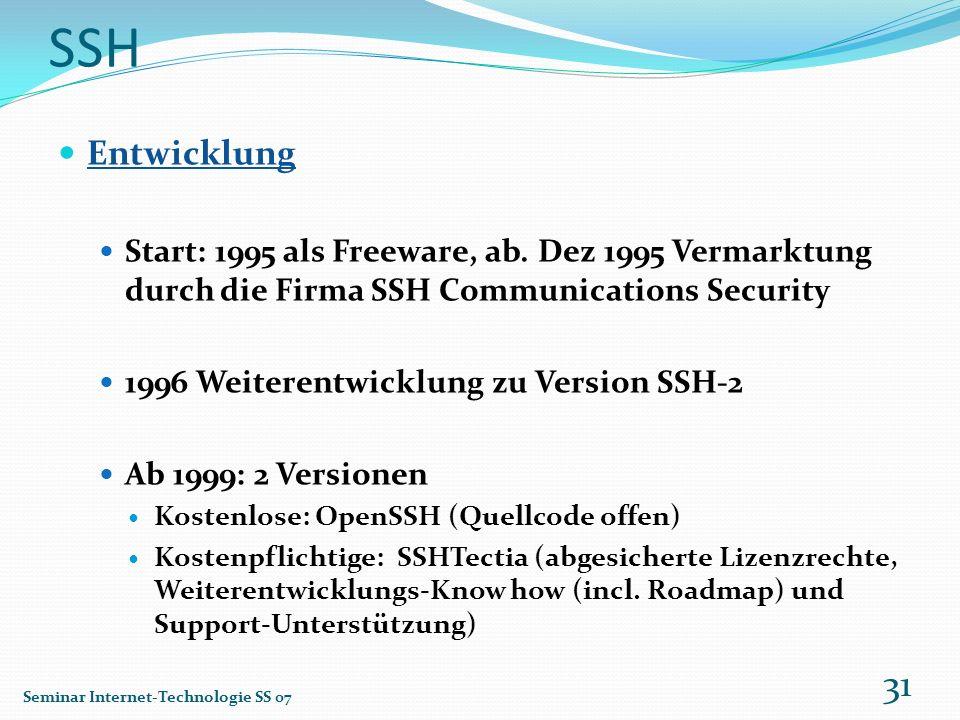 SSH Entwicklung Start: 1995 als Freeware, ab. Dez 1995 Vermarktung durch die Firma SSH Communications Security 1996 Weiterentwicklung zu Version SSH-2