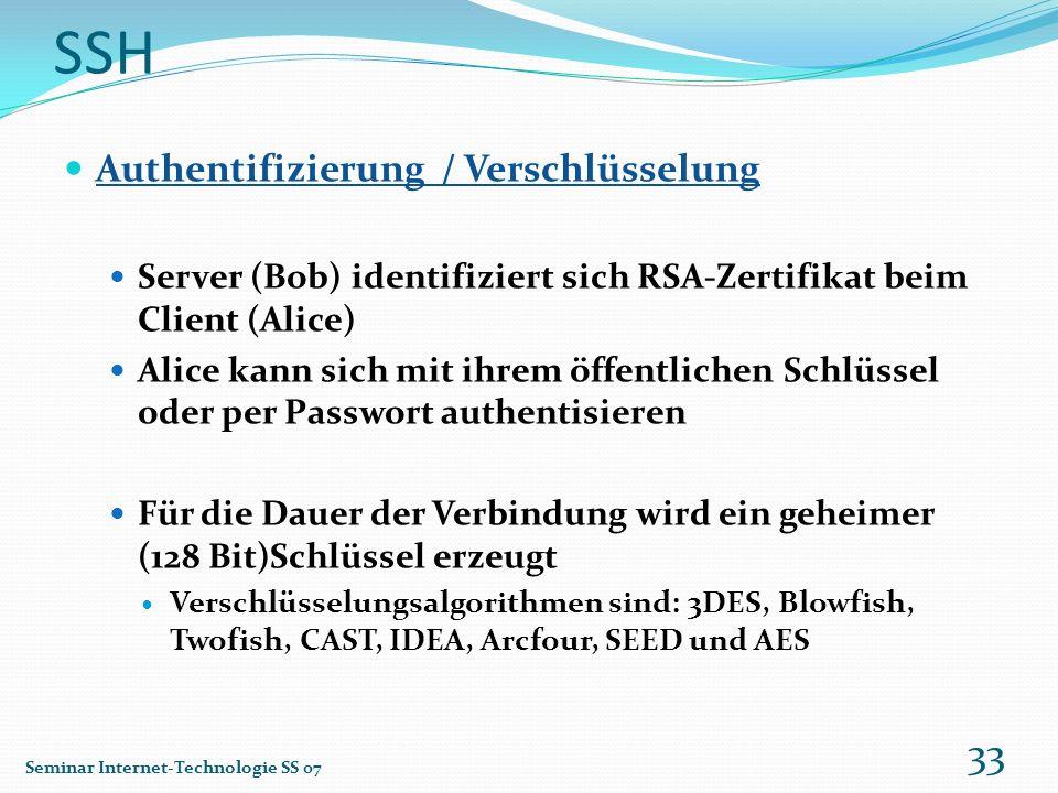 SSH Authentifizierung / Verschlüsselung Server (Bob) identifiziert sich RSA-Zertifikat beim Client (Alice) Alice kann sich mit ihrem öffentlichen Schl