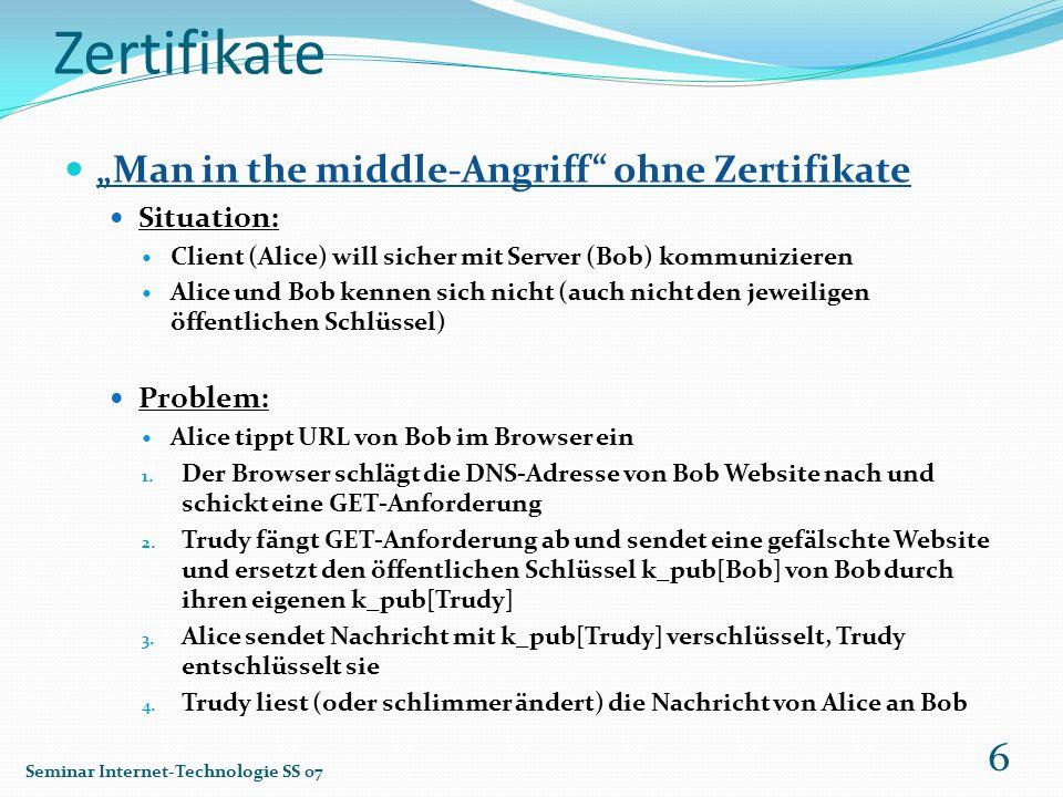 Zertifikate Man in the middle-Angriff ohne Zertifikate Situation: Client (Alice) will sicher mit Server (Bob) kommunizieren Alice und Bob kennen sich