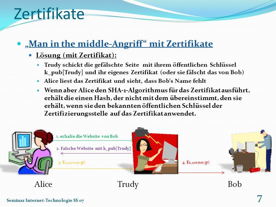 Zertifikate Man in the middle-Angriff mit Zertifikate Lösung (mit Zertifikat): Trudy schickt die gefälschte Seite mit ihrem öffentlichen Schlüssel k_p