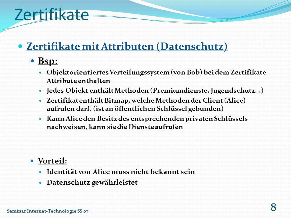 Zertifikate Zertifikate mit Attributen (Datenschutz) Bsp: Objektorientiertes Verteilungssystem (von Bob) bei dem Zertifikate Attribute enthalten Jedes