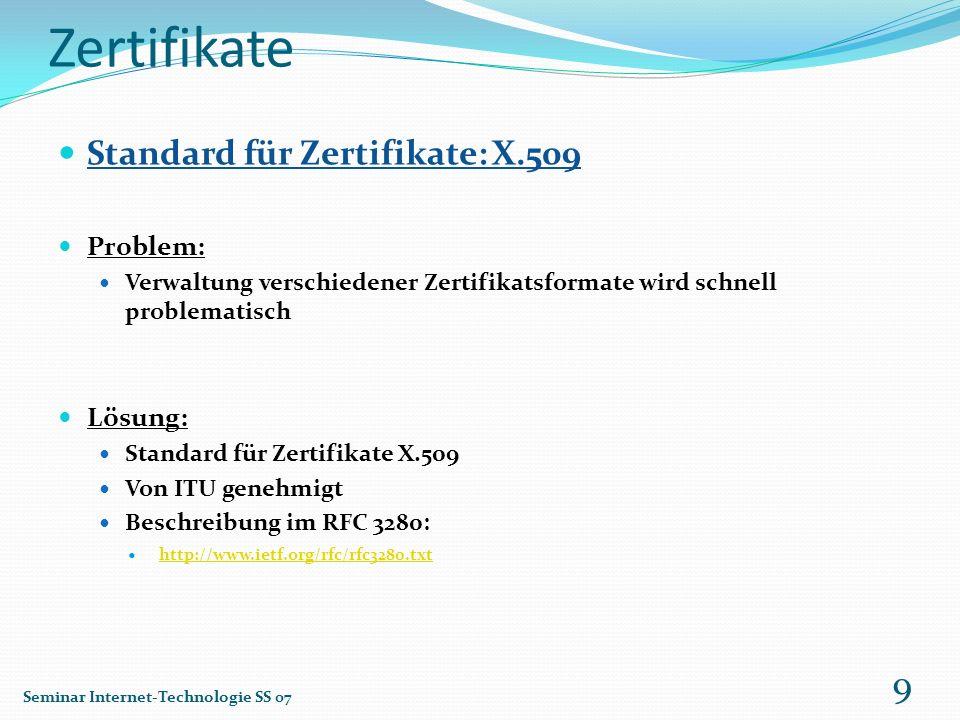 Zertifikate Standard für Zertifikate: X.509 Problem: Verwaltung verschiedener Zertifikatsformate wird schnell problematisch Lösung: Standard für Zerti