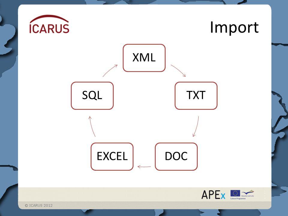 Import TXT DOCEXCEL SQL XML