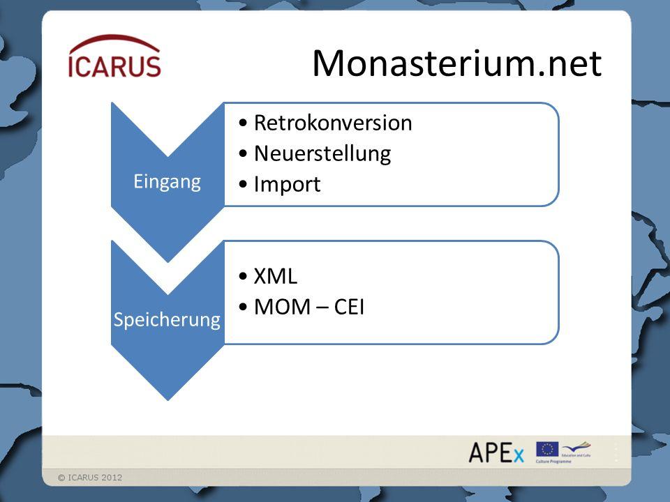 Monasterium.net Eingang Retrokonversion Neuerstellung Import Speicherung XML MOM – CEI