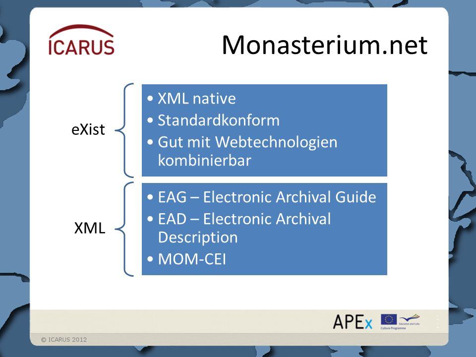 Monasterium.net eXist XML native Standardkonform Gut mit Webtechnologien kombinierbar XML EAG – Electronic Archival Guide EAD – Electronic Archival Description MOM-CEI