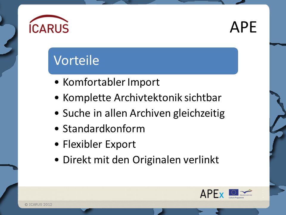APE Vorteile Komfortabler Import Komplette Archivtektonik sichtbar Suche in allen Archiven gleichzeitig Standardkonform Flexibler Export Direkt mit den Originalen verlinkt