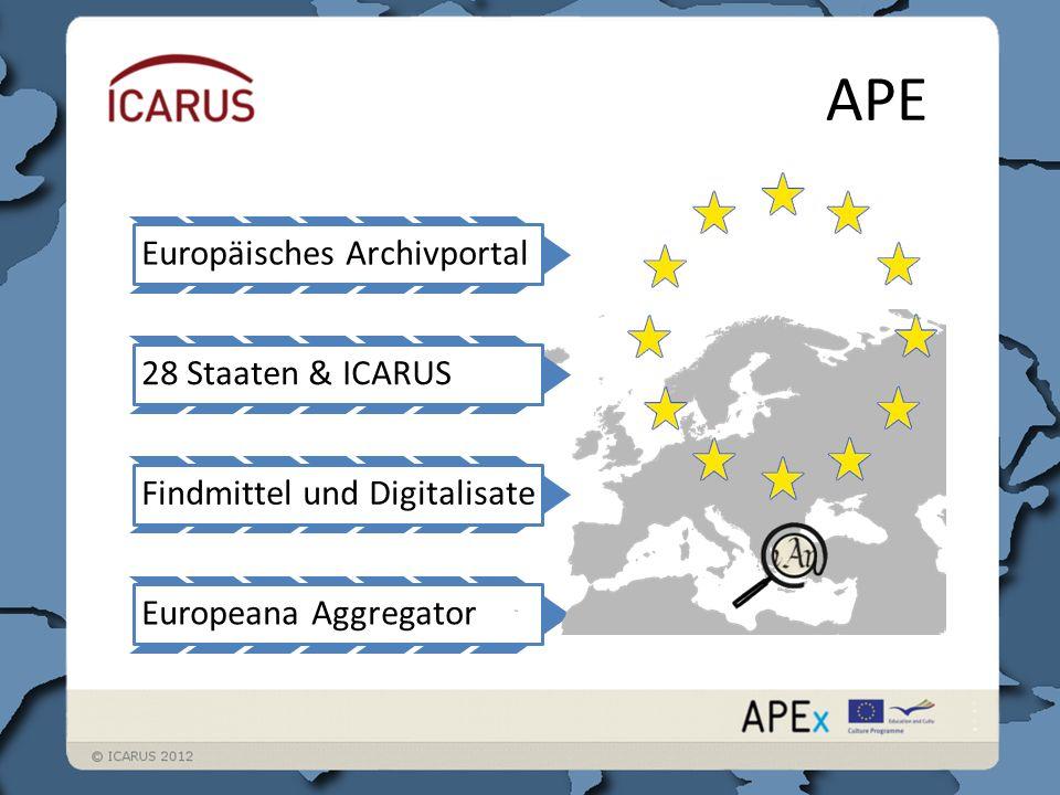 APE Europäisches ArchivportalFindmittel und DigitalisateEuropeana Aggregator28 Staaten & ICARUS
